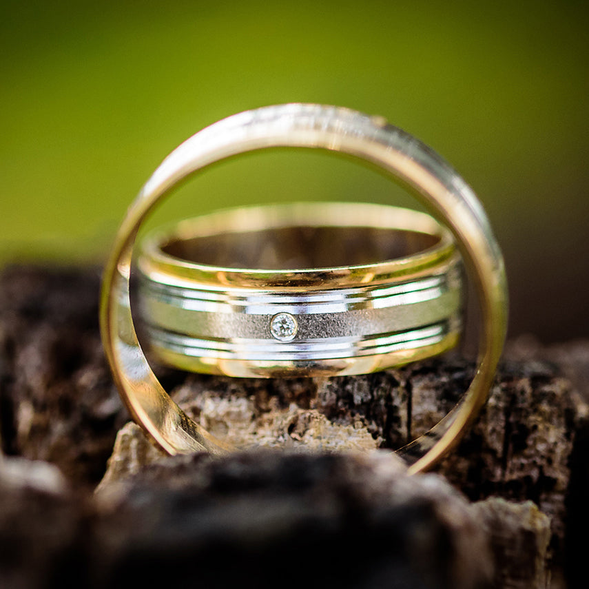 Gold and Silver Silver Classic Wedding Band