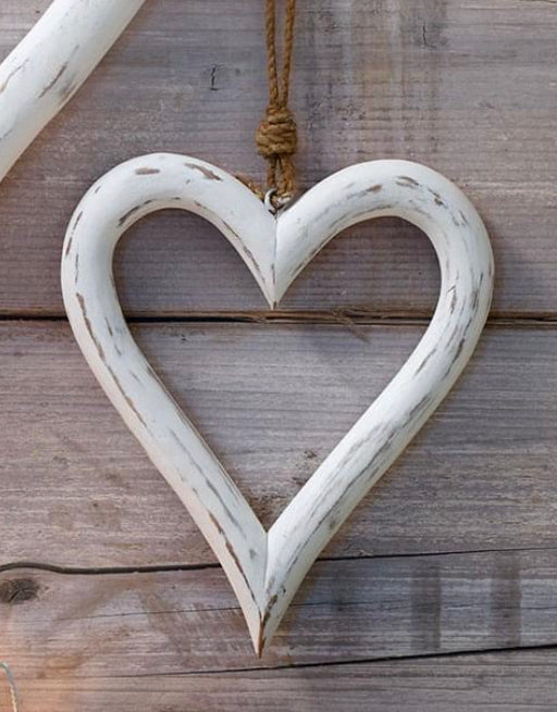 Small White Wooden Heart