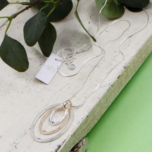 Triple Oval Pendant on Long Snake Chain Necklace