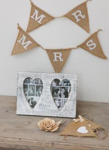 White Distressed Double Heart Frame