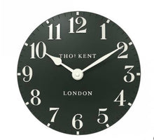 "Load image into Gallery viewer, Thomas Kent 12"" Forest Green Arabic Clock"