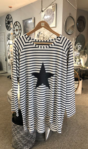 Robyn Striped Top with Star (Charcoal)