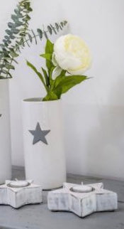 Small White Ceramic Vase with Star
