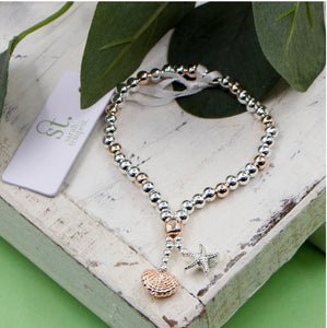 Sea Shells Charms Stretchy Bracelet