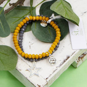 Mustard and Grey Set of 2 Coloured Beaded Bracelets