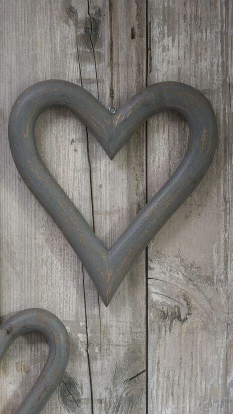 Large Grey Wooden Heart