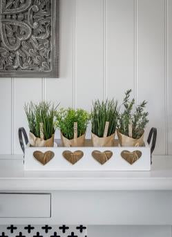 White Wooden Trug Tray with Hearts