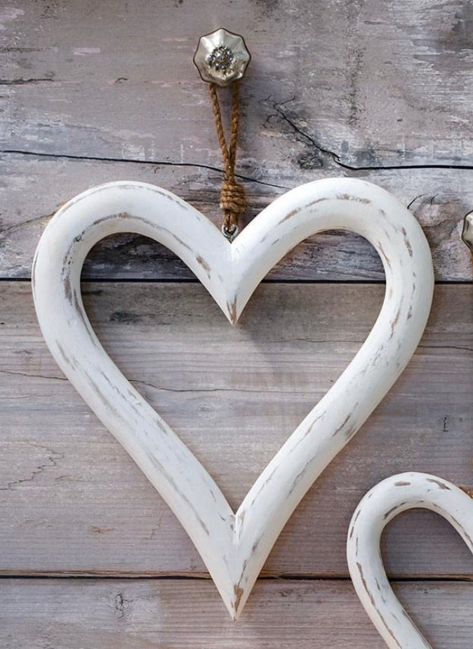 Large White Wooden Heart