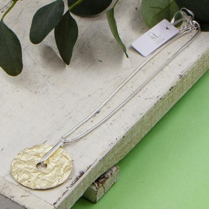 Textured Disc Pendant on Short Snake Chain Necklace