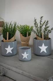 Set of 3 Grey Star Ceramic Pots