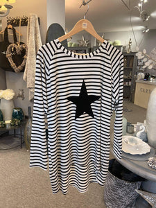 Robyn Striped Top with Star (Black)