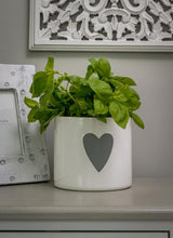 Load image into Gallery viewer, White Ceramic Planter/Flower Pot with Grey Heart