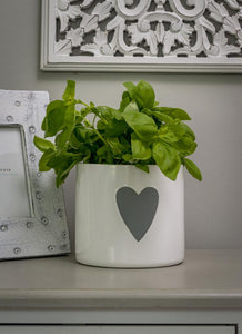 White Ceramic Planter/Flower Pot with Grey Heart