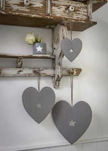 Set of 3 Grey Hearts with Star