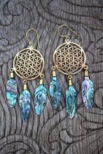 Load image into Gallery viewer, ABALONE DREAMCATCHER EARRINGS