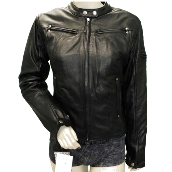 HML632 Ladies Naked Leather Racer Jacket with Vents