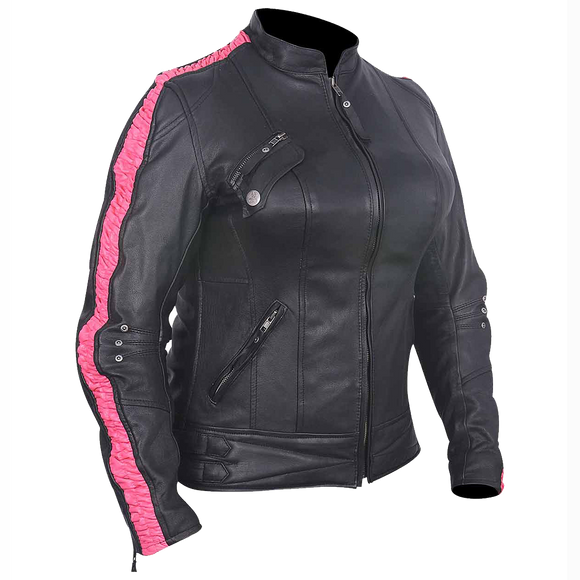 HML633 Ladies Premium Leather Jacket w/Scrunch Sides (available w/black, purple or fuchsia)