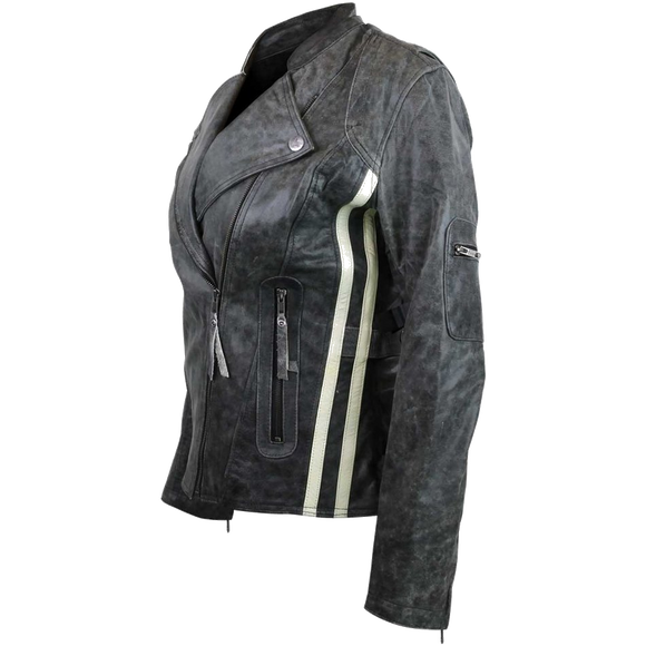 HML635DG Ladies Distressed Gray Jacket with Vertical Stripes