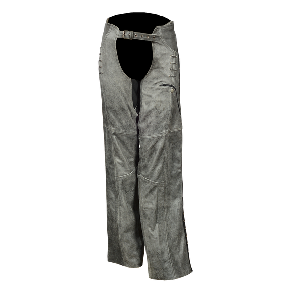 HML838DG Ladies Lightweight Distress Gray Leather Chap W/Grommeted Twill and Lace Highlights