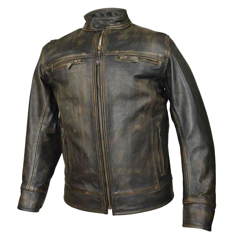 HMM546DB Distressed Brown Leather Scooter Jacket