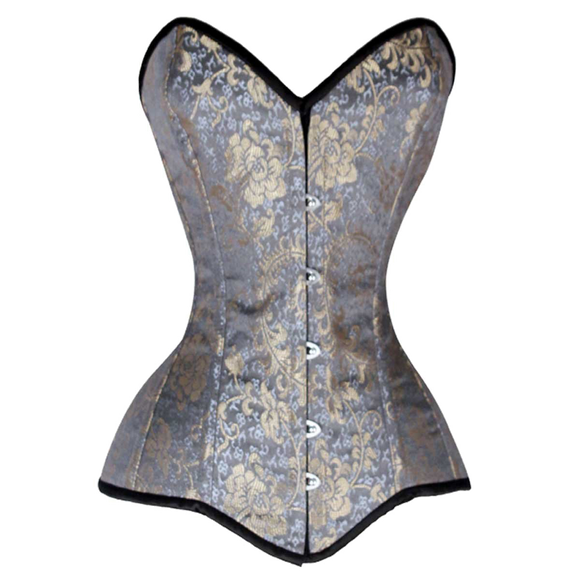 VC1405 Ladies Brocade Corset Black with Silver and Gold
