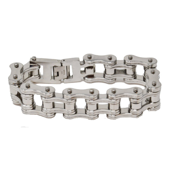 VJ1128 Men's 3/4 inch Wide All Silver Bike Chain Bracelet - Daytona Bikers Wear