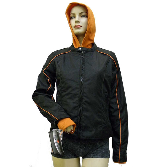 VL1585 Ladies Textile Jacket with Embroidered Wings on Back - Daytona Bikers Wear
