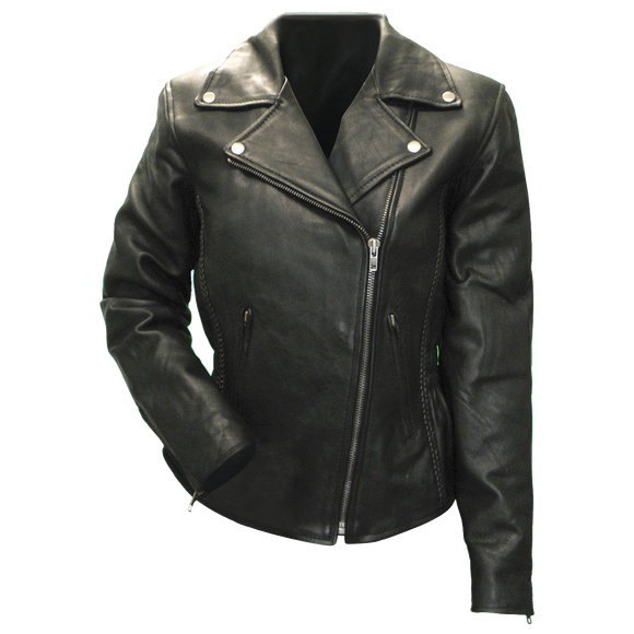 VL615 Vance Leather Ladies Premium Cowhide Braid and Stud Motorcycle Leather Jacket