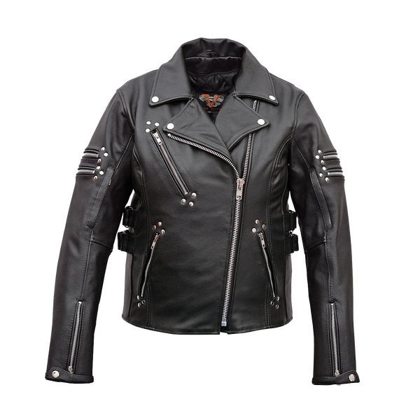 VL617 Ladies Premium Leather Jacket with Side Adjustments
