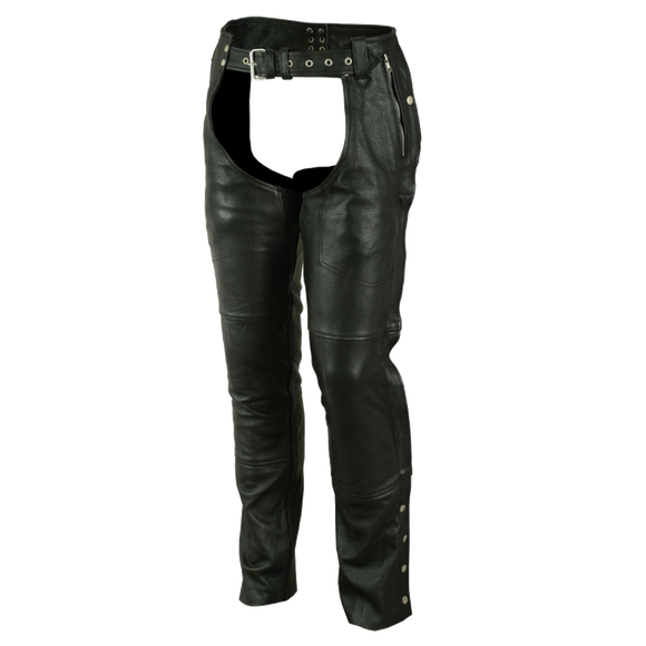 VL811 TG Vance Leather Four Pocket Top Grain Leather Chaps with Removable Liner