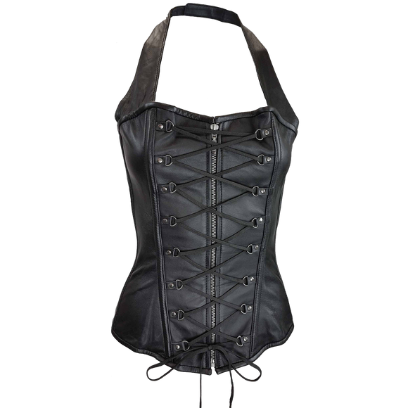 VC1323 Vance Leather Ladies Halter Top Corset with Zipper and Laces