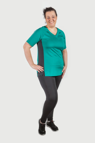 Joy shirt aqua/zwart