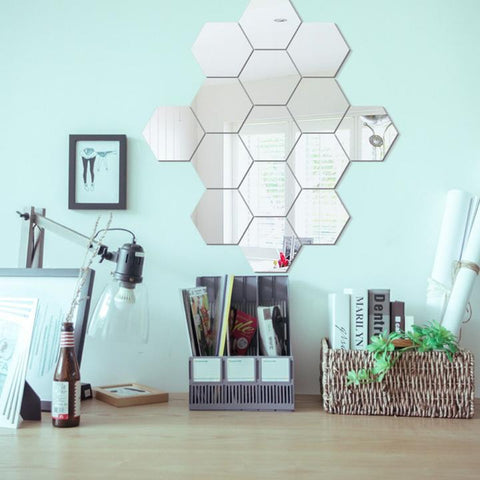 24Pcs 3D Hexagon Acrylic Mirror Wall Stickers DIY - Superiors Store