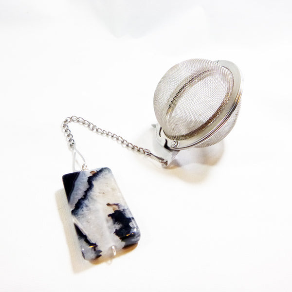 Tea Infuser with Black Rectangular Agate
