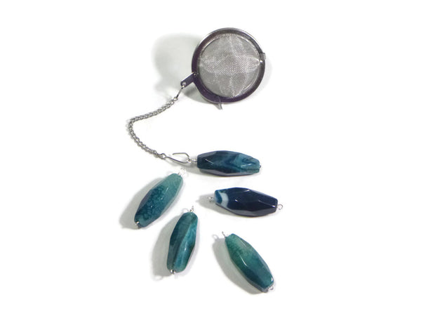 Tea Infuser with Blue Crab Agate Charm