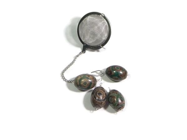 Tea Infuser with Brown and Teal Circle and Dot stone