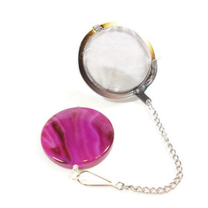 Tea Infuser with Magenta Dyed Agate Coin
