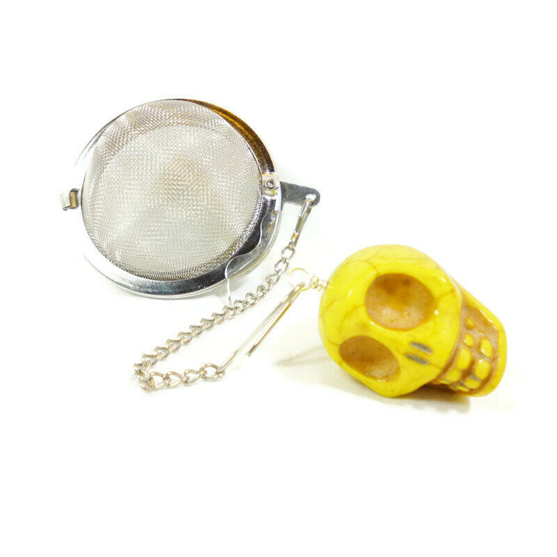 Tea Infuser with Yellow Skull Charm