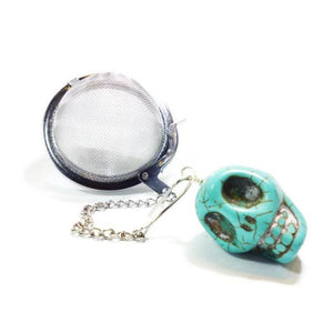 Tea infuser with Turquoise Skull Charm