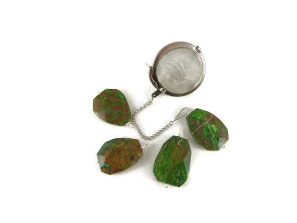 Tea Infuser with Green and Brown Jasper