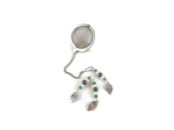 Tea infuser with leaf beaded charm