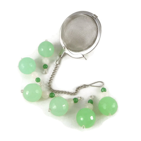 Tea Infuser with Green Beaded Charm