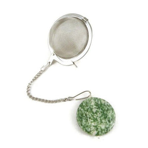 Tea Infuser with Speckled Green Coin charm