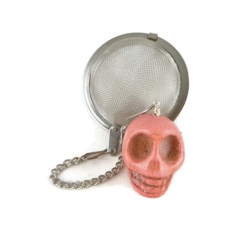 Tea Infuser with Pink Skull Charm