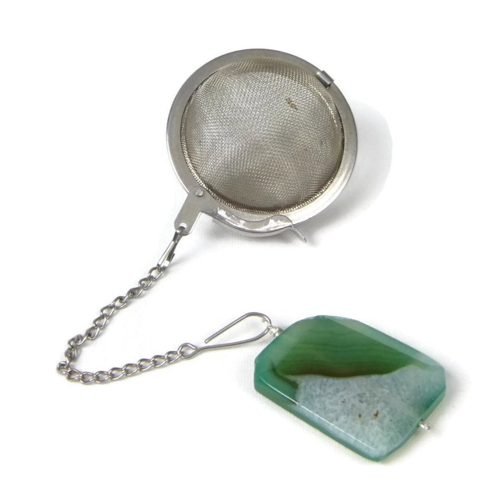Tea Infuser with Green and Black Agate Charm