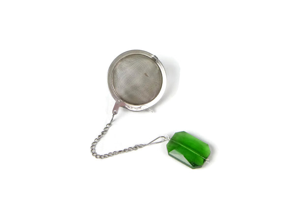 Tea Infuser with Green Faceted Glass Charm