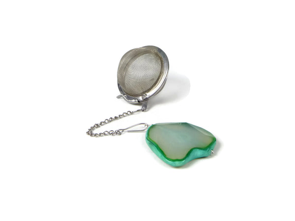 Tea Infuser with Green Agate Slice Charm