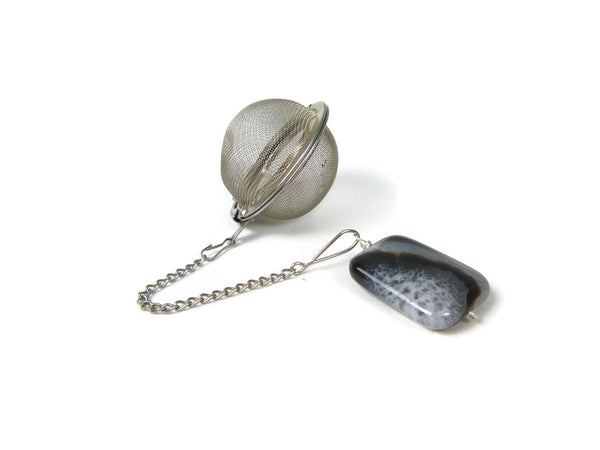 Tea Infuser with Black and White Agate Charm