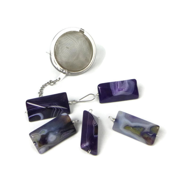 Tea Infuser with Purple Agate Charm