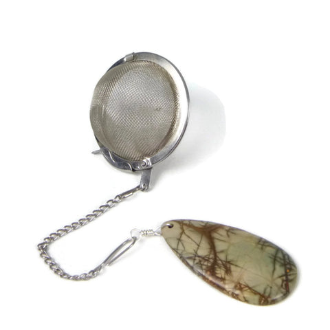 Tea Infuser with Antique Looking Jasper Charm